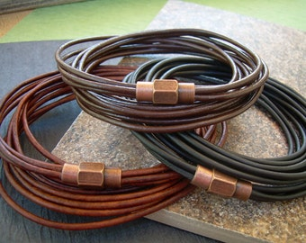 Mens Bracelets, Leather Bracelets for Men, Mens Bracelets Leather,  Triple Wrap Bracelet with Copper toned Brass Magnetic Clasp,