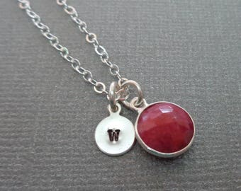 Ruby Necklace Silver Initial/July Birthstone Custom Initial Necklace/Natural Ruby Bezel Silver/15th Anniversary Gift/Gemstone Jewelry//BE52