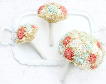 Mint + Coral Wedding Flowers // Wedding Bouquet Bridal Bouquets Lace Sola Flowers Dried Flower Wedding Keepsake Bride Bridesmaid Boutonniere