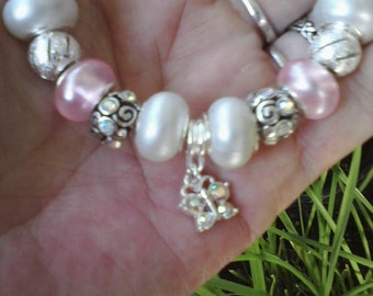Pastel pinks and butterflies, Euro style bracelet