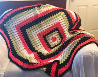 Bright Granny Square Throw