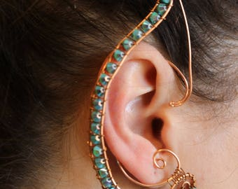 Copper and Turquoise elf ear cuff