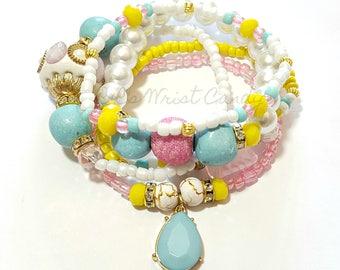 White, Light Blue, Pink, Yellow Beaded Bracelet Set, Stretchy, OOAK, Womens Gifts, Boho, Custom Handmade Beaded Jewelry