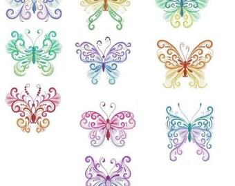 Embroidered  quilt blocks--Butterflies