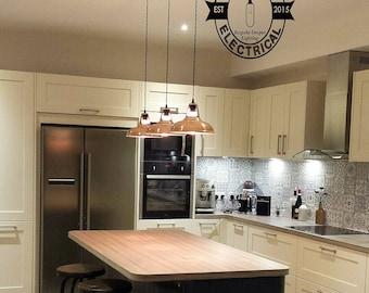 3 x Cawston usine industrielle en cuivre massif ombre lumière plafond salle à manger chambre cuisine table vintage 3 x edison à incandescence lampes pendentif barre