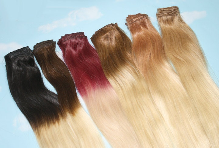 Handmade Bleached Tips Ombre Hair Extensions Human