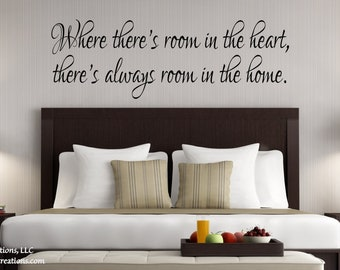 Guest Bedroom Wall Decal- Where There's Room in the Heart -Guest Room Decor-Guest Room Wall Decal- Guest Bedroom Decor-Guest Room Decal