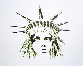 Liberty Yellow Grey - Screen Print