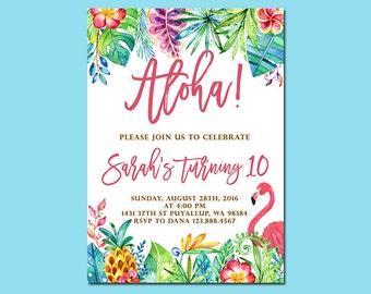 Aloha Birthday Invitation, Tropical Pineapple Flamingo Birthday Invitation, Luau Invitation, Hawaiian Invitation, Printable file only