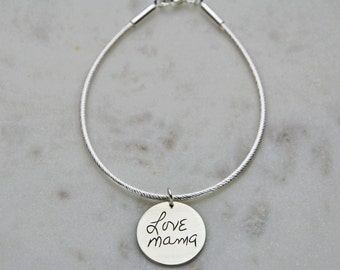 Silver personalized handwriting bracelet - Memorial signature engraved - Custom silver charm on bracelet - Personalized signature bracelet