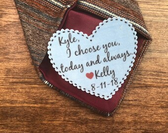 "GROOM TIE PATCH - Groom Gift, Iron On, Sew On , I Choose You Today And Always, Choose Patch Color, 2.25"" Wide Heart Shaped Patch"