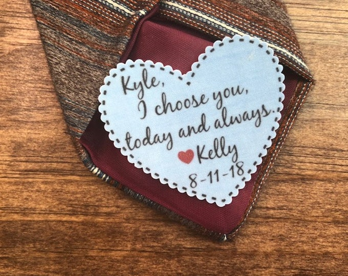 """Featured listing image: GROOM TIE PATCH - Groom Gift, Iron On, Sew On , I Choose You Today And Always, Choose Patch Color, 2.25"""" Wide Heart Shaped Patch"""