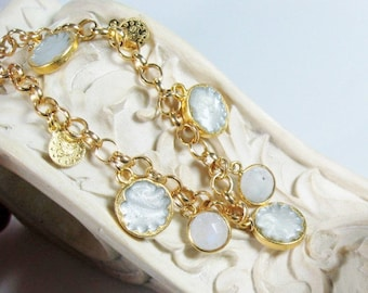 Moonstone and White Enamel Gemstone, Sultan's Gold Charm Bracelet