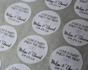 Love is Sweet Favor Stickers -  Personalized Favor Stickers - Personalized Favor Stickers - Favor Labels - Wedding Labels  Favors