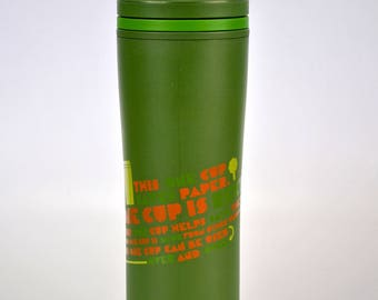 Starbucks Coffee Tumbler 20 oz Green THIS ONE CUP Twist Top 2010 Recycle Reuse