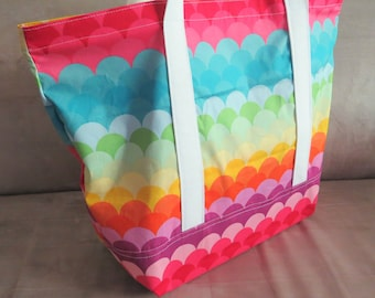 FREE SHIPPING ALWAYS - Rainbow waves print tote bag, cotton bag, reusable grocery bag, knitting project bag, beach bag, Green Market bag