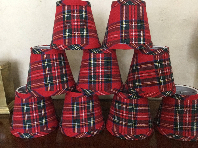 Red tartan chandelier lampshade plaid shade tartan chandelier zoom arubaitofo Choice Image
