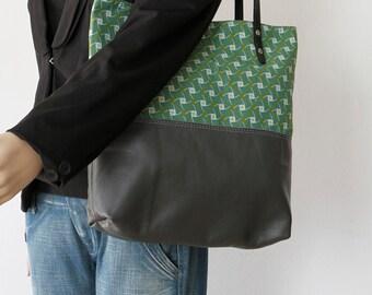 Grey Leather Market Bag - Grey Leather Tote Bag - Leather Shopping Bag - Grey Leather Carry All