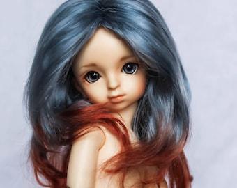 Long Ombre Angora mohair bjd wig for doll
