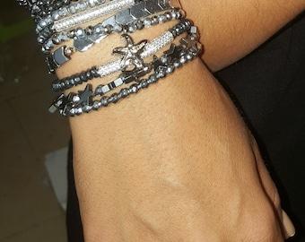 hematit bracelets,Stylish, fashion'  star-fish charm,  sea star , beach silver gift for woman