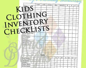 Kids Clothing INVENTORY Set-PDF - Closet Organization -Boy Clothing -Girls Clothing -Organize -Shopping -Clothing Storage -Home Management