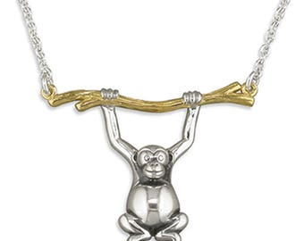 A Little Monkey Swinging From Gold Branch Sterling Silver Necklace