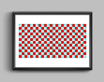 Optical Illusion Contrasting Colors Rectangle Poster Print,Scandinavian Wall Art Print,Contrasting colors give illusion of motion,Geometric