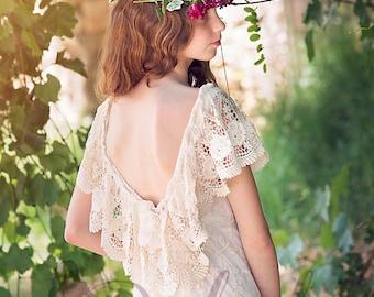 Boho Girls Dress, Ivory Lace Junior Bridesmaid Dress, Flower Girl Ivory Lace Dress, Boho flower girl dress, Bohemian Wedding,Communion dress