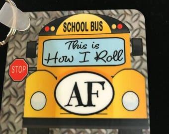 Personalized school bus keychain