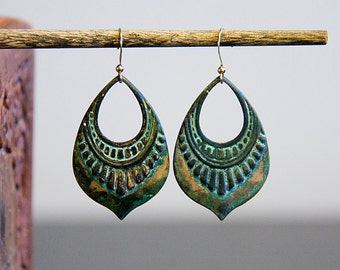 Patina Art Deco Drop Earrings Verdigris Ornamental Charm Rustic Patina Jewelry - E263