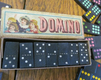 Victorian Antique Dominoes Game Pieces Original Box Vintage Game Pieces Dominoes Double Six Dominoes Game Antique Victorian Toys and Games