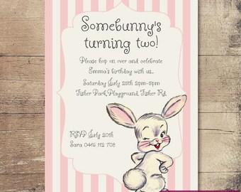 Printable Vintage Bunny Birthday Invitation / Customisable Digital File / JPG or PDF / Pink, Cream