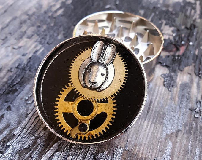 Featured listing image: Steampunk Metal Herb Grinder -  Steampunk Bunny Spice Crusher... - metal herb grinder - pepper grinder - weed grinder - tobacco grinder