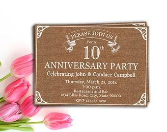 Geburtstag Party-Einladung, rustikal druckbare einladen, Jahrgang Jahrestag BBQ Einladung, Custom, 10. 20. 25. 50. jedem Jahr, Ihre Worte