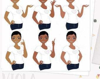 Woman character clipart, girlboss digital blog clipart, planner girl, working mom, pretty girl, dark skin african american (Viola  L220)