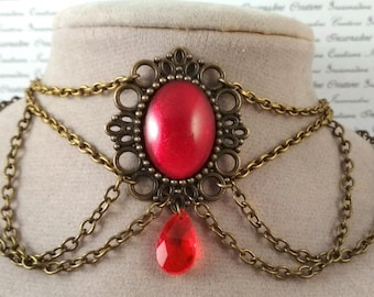Handpainted red stone and bronze chain choker necklace gothic victorian