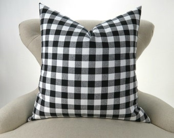 Black Plaid Pillow Cover -MANY SIZES- Check Pattern, Gingham Print, Euro Sham, Lumbar, Decorative Throw, Black White Buffalo Premier Prints