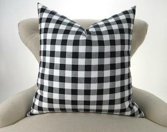 Black Plaid Pillow Cover -MANY SIZES- Check Pattern, Gingham Print, Euro Sham, Lumbar, Decorative Throw, Black White Buffalo Premier Prints