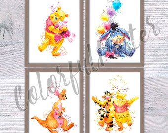 Set of 4 Winnie the Pooh watercolor posters, Pooh and friends art print, Nursery wall art, Tigger, Winnie, Eeyore, Kanga Roo poster V65