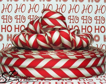 "1"" Candy Cane Grosgrain Ribbon"