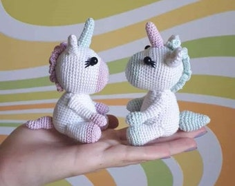 Crochet Unicorn lovers gifts White knitted toy Amigurumi Plush stuffed little toy Baby shower doll for girl boy toddler magic rainbow