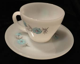Vintage Fire King Bonnie Blue Teacup and Saucer Made in USA