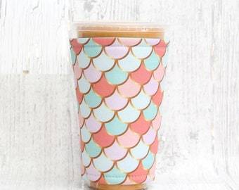 Pastel and Gold Mermaid Cozy, Cup Cozy, Iced Coffee Cozy, Cup Sleeve, Coffee Cozy, Coffee Cuff,