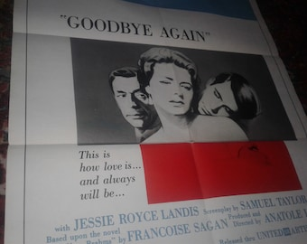 "Ingrid Bergman ""Goodbye Again"" Anthony Perkins 1 sheet postet"