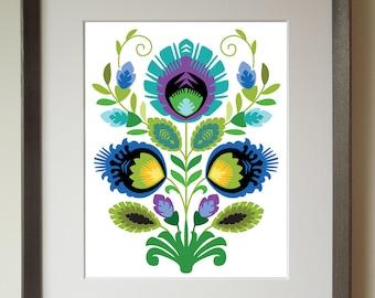 Polish Folk Art Print, Teal Flower