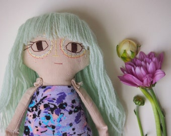 Little Miss Comfort Doll, handmade cotton doll with green wool hair (bangs)