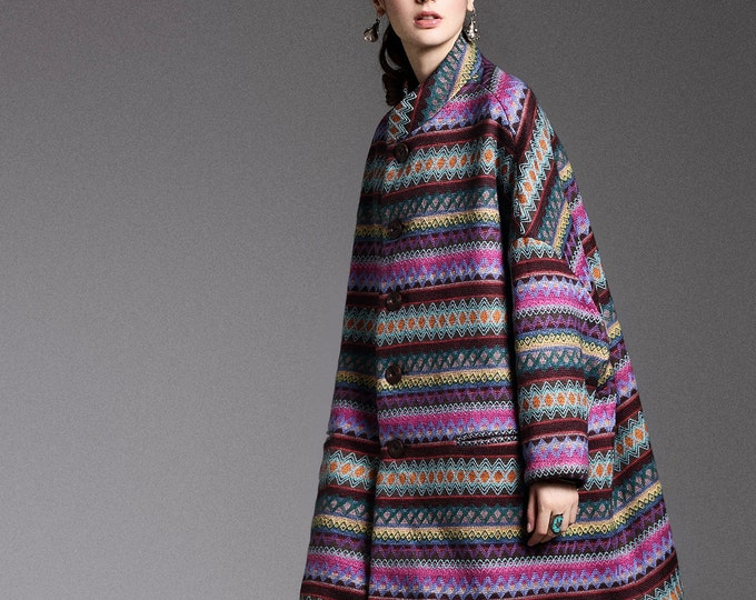 Wool Coat - Semi-long coat autumn / winter - Bat sleeves - Loose fit - High collar - Made to order
