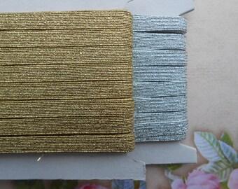 """Skinny Elastic Gold Silver 1/4"""" width 5 yards"""