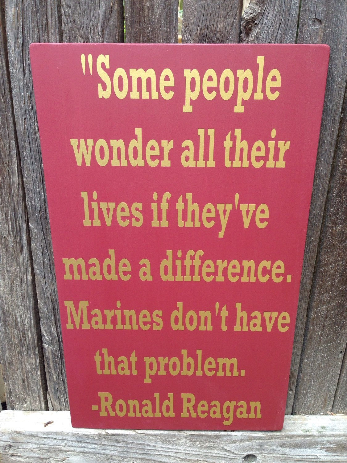 Famous Marine Corps Quotes Gift For Veteran Us Marine Corps Usmc Ronald Reagan Quote Wood