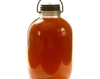 Duraglas 1 Gallon Bottle Pickle Jar w Ball Zinc Lid / Glass Jug Wire Bale Handle / Picnic Tailgating BBQ Ice Tea Lemonade Jug